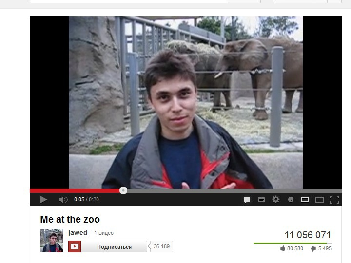Самое первое видео на YouTube - Me at the zoo